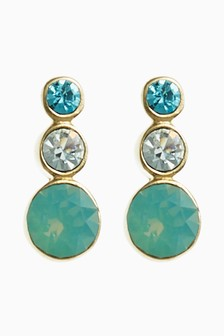 18 Ct Gold Plated Blue Stone Stud Earrings