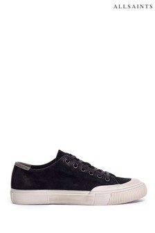 AllSaints Black Rigg Ramskull Lace-Up Canvas Shoes