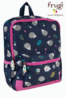 Frugi Blue Recycled Hedgehog Print Backpack