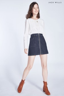Jack Wills Indigo Chartham Zip Through Denim Skirt