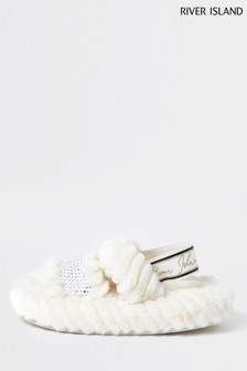 River Island Cream Heatseal Clipped Slippers