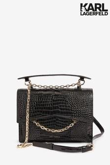 Karl Lagerfeld Black Seven Top Handle Croc Bag
