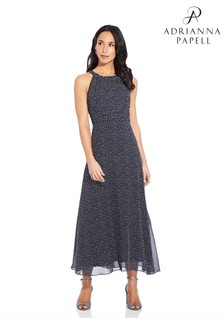 Adrianna Papell Blue Darling Dot Midi Dress