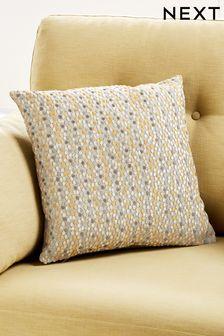 Ochre Yellow Velvet Spot Small Square Cushion