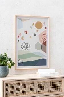 Bild mit abstraktem Landschaftsmotiv und Rahmen