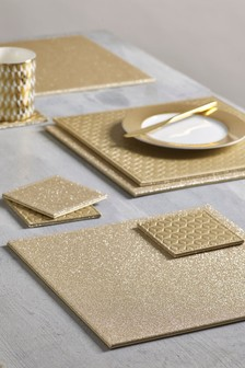 Set of 4 Reversible Glitter Placemats And Coasters