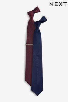 מארז שתי עניבות עם סיכה לעניבה ומרקם