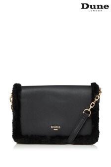 Dune London Dasha Black Small Faux Fur Crossbody Bag