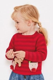 Джемпер с карманом и рождественским оленем (3 мес.-7 лет)