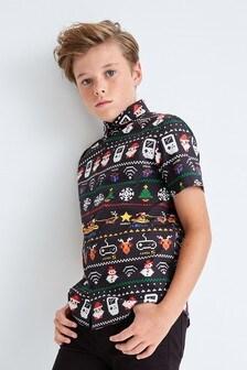 Рубашка с коротким рукавом и новогодним геймерским мотивом (3-16 лет)