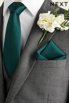 Set con cravatta e fazzoletto da taschino in seta