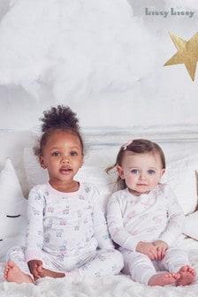 Kissy Kissy Bedtime Pyjama mit Lamamotiv, Weiß
