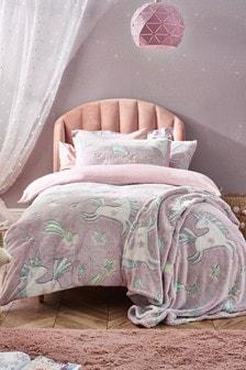 Purple Glow In The Dark Fleece Unicorn Duvet Cover and Pillowcase Set
