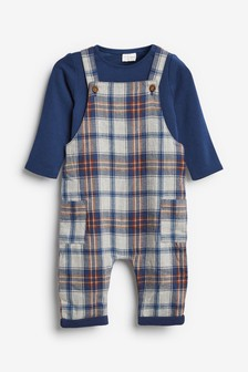 Check Dungarees And Bodysuit Set (0mths-2yrs)
