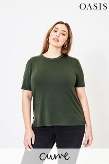 Oasis Curve T-Shirt mit Stufensaum, Grün