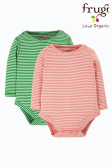 Frugi Pink GOTS Organic Long Sleeve Pointelle Bodysuits Two Pack