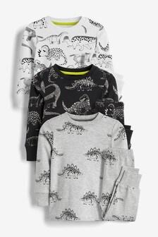 Lot de 3 pyjamas confortables motif dinosaure (9 mois - 8 ans)