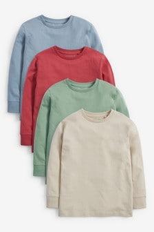 Набор трикотажных футболок с длинным рукавом (4 шт.) (3-16 лет)