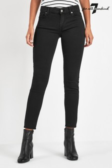 7 For All Mankind Black Mid Rise Slim Roxanne Jean
