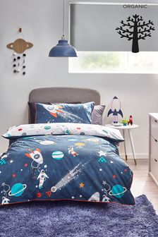 Navy Blue Space Planets And Rockets 100% Organic Cotton Duvet Cover And Pillowcase Set
