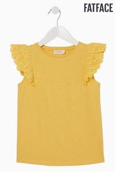 FatFace Yellow Plain Broderie Sleeve T-Shirt