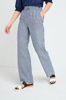 Широкие брюки из льняной смеси