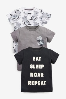 3 Pack Short Sleeve Dino T-Shirts (3mths-7yrs)
