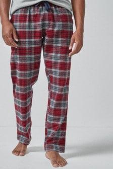 Текстильные пижамные штаны из чесаной ткани в клетку