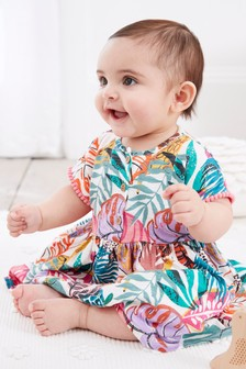 熱帶圖案印花平織連衣裙 (0個月至2歲)