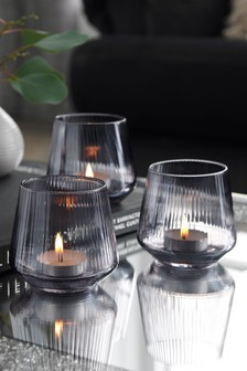 Smoke Glass Candle Holder Tealight Holder