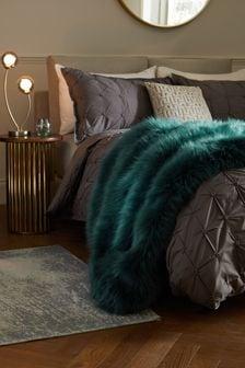 Teal Blue Long Faux Fur Throw