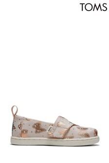 Toms Peony Subtle Metallic Foil Butterflies Alpargata Shoes