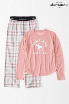 Set pijama Abercrombie & Fitch gri/roz