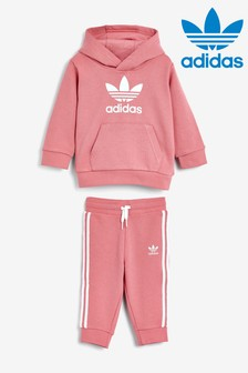 adidas Originals Infant Pink Trefoil Hoody And Jogger Set