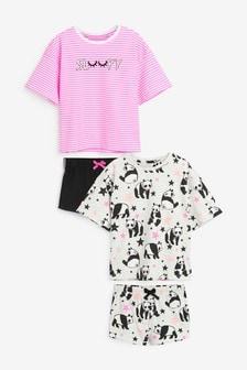 2 Pack Fluro Panda Pyjamas (3-16yrs)