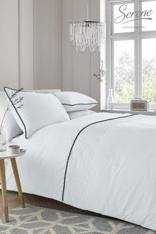 Serene White Pom Pom Duvet Cover And Pillowcase Set