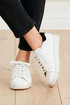 Signature Leder-Sneaker mit Schnürung