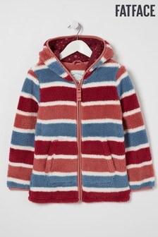 FatFace Blue/Red Stripe Zip Through Fleece Sweat Top