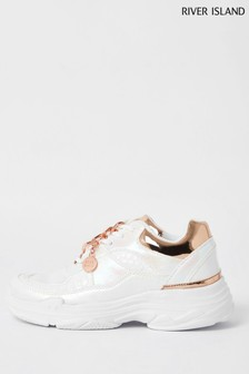 River Island White Iridescent Chunky Trainers