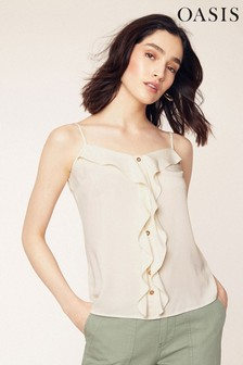 Oasis Off White Button Frill Front Cami