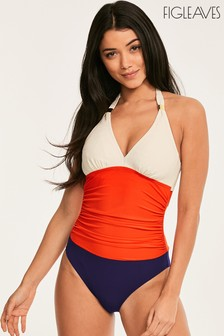 Figleaves Orange Colourblock Underwired Halter Swimsuit