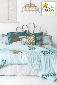 Happy Friday Teal Foliage Duvet Cover and Pillowcase Set