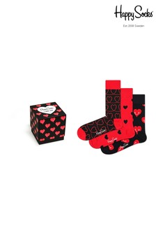 Happy Socks Red/Black Socks Three Pack Gift Box