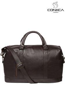 Темно-коричневая кожаная сумка Conkca Rivellino