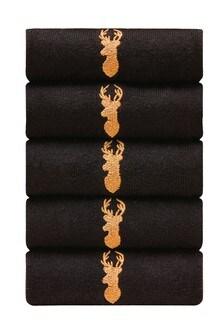حزمة من خمسة جوارب ذهبي مطرزة ظبي