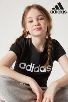 Черная футболка с линейным логотипом adidas