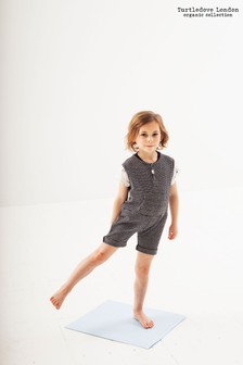Turtledove London Black Grid Jersey Shortie All-In-One