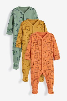 3 Pack Multi Animal Sleepsuits (0mths-2yrs)
