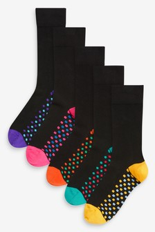 Комплект из пяти пар носков на подошве с рисунком в горошек