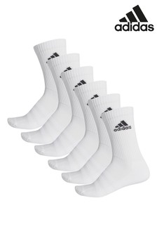 adidas Adult White Crew Socks Six Pack